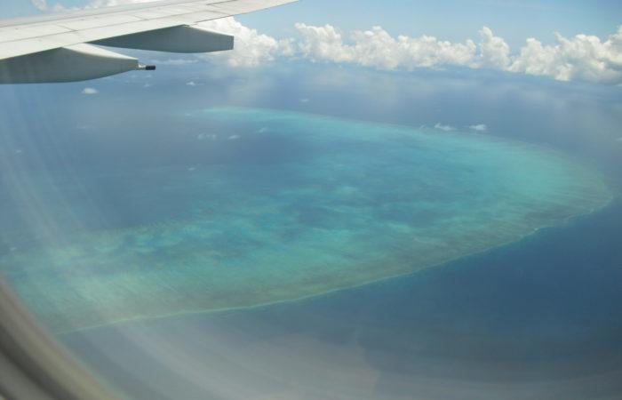 Vue depuis l'avion sur la Grande Barrière de Corail
