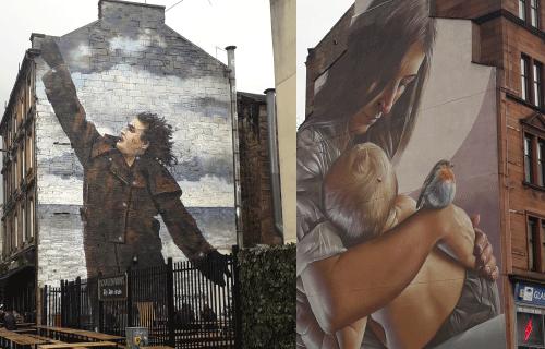 Street art de smug à Glasgow en Ecosse représentant un portrait de maman avec son bébé